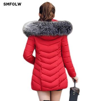 2017 New Winter Jacket Women Parkas for Coat Fashion Female Warm Down Jacket With a Hood Large Faux Fur Collar Coat S-XXXXL