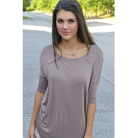 Taupe Piko Style Bamboo Top