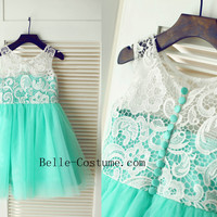 Green Lace Flower Girl Dress, Lace Flower Girl Dresses, 2016 Flower Girl Dresses