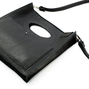 Free shipping, Black Leather Handbag, Handmade Handbag, Unique Big Handbag, Leather bag, Leather Handbag, Minimal bag, NODRAMA SQUARE bag