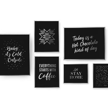 SET of 6 Prints, Winter Set, Snowflake Print, Bedroom Decor, Lets Stay Home Poster, Real Gold Foil Print, Home Decor, Baby Its Cold Outside