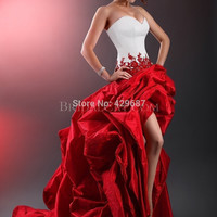 Vintage Gothic Wedding Dresses Strapless A Line High-Low Short Fornt Long Back Plus Size White And Red Bridal Gown UM717 Alternative Measures - Brides & Bridesmaids - Wedding, Bridal, Prom, Formal Gown