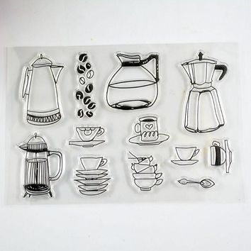 Coolhoo kitchen utensil clear stamp Eco-friendly Transparent Stamp For DIY Scrapbooking/Card Making/ Decoration Supplies