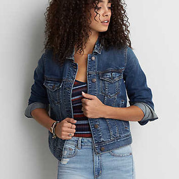 AEO Super Soft Denim Jacket, Medium Wash