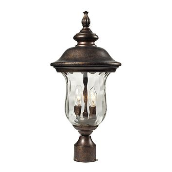 45023/2 Lafayette 2 Light Outdoor Post Lamp In Regal Bronze And Water Glass