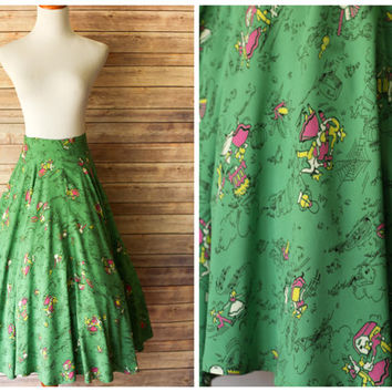 1950's Skirt | Green Novelty Skirt/ High Waist Skirt / 50s Cotton Skirt | Novelty Skirt | Vintage novelty Skirt | 1950s Small novelty skirt