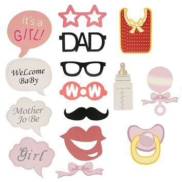 20pcs Baby Shower Photo Booth Props Party Girl Wedding Party Decoration