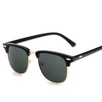 new half frame vintage style sunglasses with polarized lens. These are known as clubmaster wayfarer style