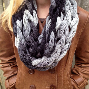 Dash Gray Arm Knit Scarf, Arm Knit Cowl, Chunky Infinity Scarf