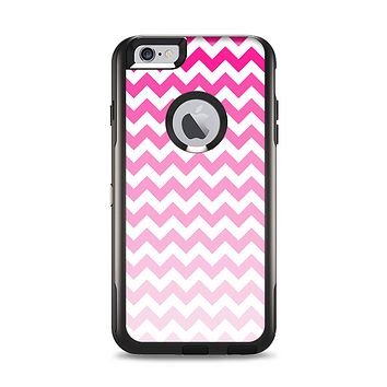 The Pink & White Ombre Chevron Pattern Apple iPhone 6 Plus Otterbox Commuter Case Skin Set