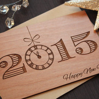 Wooden New Years Cards - New Years Day 2015 - New Years Celebration 2015