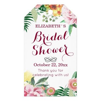 Watercolor Floral Bridal Shower Thank You Gift Tag