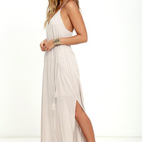 Crush and Croon Light Taupe Embroidered Maxi Dress