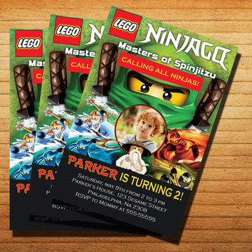 Design Lego Ninjago Party Invitation Cards 4x6, 5x7, Customized