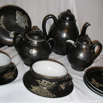 Antique Black M.M. Nippon Porcelain China Tea Set Silver Plated, Butterfly Pattern