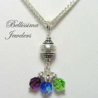 Mothers Silver Birthstone Necklace, Personalized Pendant Necklace, Sterling Silver Chain