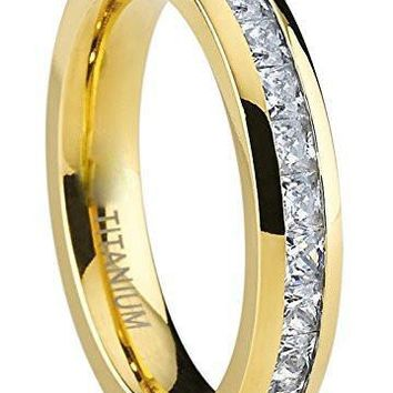 4MM Yellow Gold Princess Cut Eternity Titanium Ring Wedding Band with Cubic Zirconia