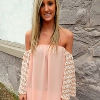 Peach Off The Shoulder Tunic