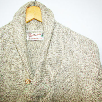 Shawl Collar Sweater Vintage Men's S/M