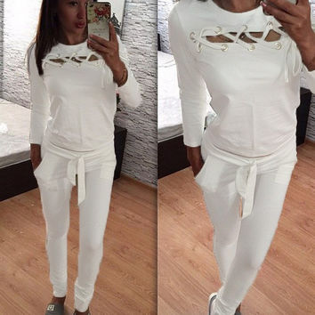 White Lace-Up Detail Long Sleeve Sports Suit