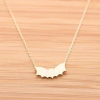 BAT necklace in gold  by bythecoco on Zibbet