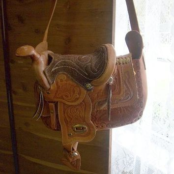 Vintage Tooled Leather Horse Saddle Purse Bag
