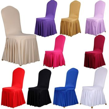 Spandex Stretchy Elastic Chair Covers Pleated Banquet Dining Chair Seats Coves