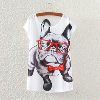 White Short Sleeve Dog Wearing Bow Print Top