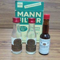 MANN FILTER. Promotional Small Bottles of Mann Filter, Advertising, Smaller Bottles, Collectable Bottles of Alcohol, Gift Idea