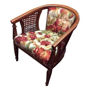Vintage MCM Barrel Chair Cane/Tufted upholstery