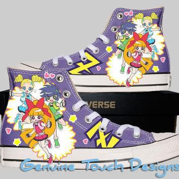 Hand Painted Converse Hi Sneakers. Fanart Powerpuff Girls Z Anime. Custom Handpainted