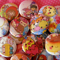 Kawaii Pinback Buttons Set of 5 japanese party by PandaLoveShop
