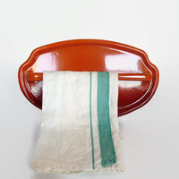 Vintage French 50's Enamel Utensil Rack, Towel Bar, Ombre Burnt Orange Enamelware, Kitchen Decor
