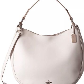 COACH SEALED 36026 Hobo Leather Shoulder Tote Purse Chalk NWT $495 BAG NEW WHITE