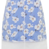 Takashi Organza Floral Pint Skirt by Boutique - Blue