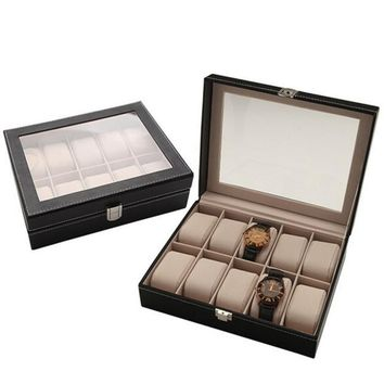 Portable Travel Watch Case Roll 10 Slot Wristwatch Box Storage Travel Pouch