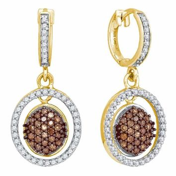 10kt Yellow Gold Women's Round Cognac-brown Color Enhanced Diamond Oval Frame Dangle Earrings 3-4 Cttw - FREE Shipping (US/CAN)