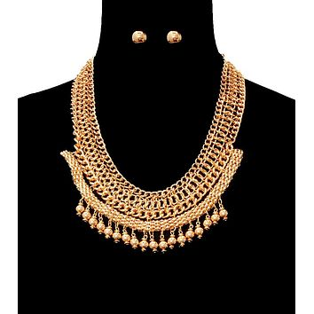 Gold Chainmaille Collar Necklace Set