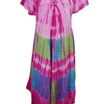 Womens Lenore Umbrella Dress Tie Dye Half Sleeves Boho Hippie Beach Dress Large: Amazon.ca: Clothing & Accessories