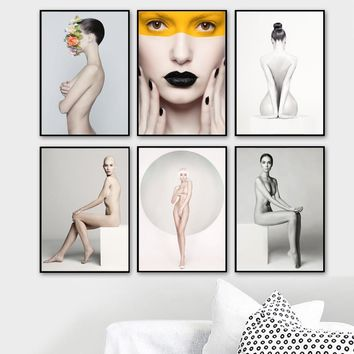 Sexy Nude Woman Body Wall Art Canvas Painting Nordic Posters And Prints Wall Pictures For Living Room Girl Bedroom Home Decor