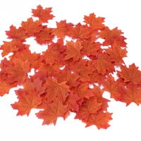 50 Pcs Artificial DIY Arts Wedding Favors Fake Autumn Maple Fall Leaf Party Decors Crafts 3Colors Avaliable