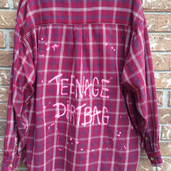 Plaid flannel teenage Dirtbag bleached and grunged shirt // soft grunge