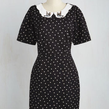 Rockabilly Mid-length Short Sleeves Shift Has a Mind of Its Flown Dress in Black Dots