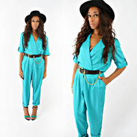 vintage 80s teal WRAP slouchy OVERSIZED shiny tapered leg jumpsuit size M/L