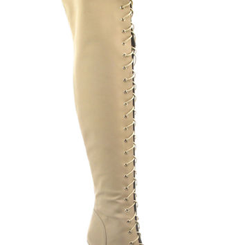 Sky High Thigh Boots - Nude