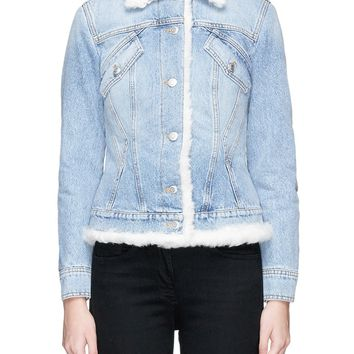 Alexander McQueen | Embellished mythical logo patch shearling denim jacket | Lane Crawford - Shop Designer Brands Online