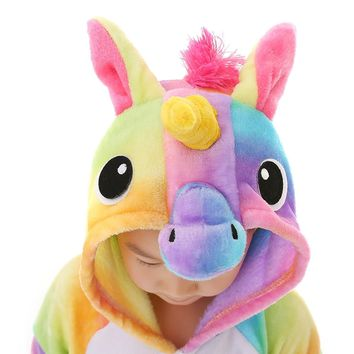 Unisex-Children Unicorn Pajamas Halloween Animal Cosplay Costume Kigurumi
