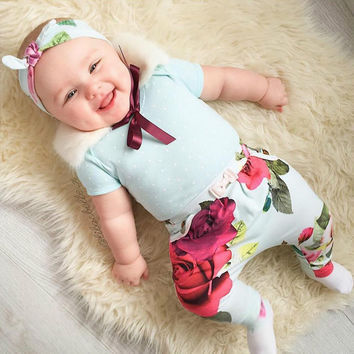 2016 baby girls clothes Flower  letter Pattern long sleeve t shirt + pants 2pcs suit newborn baby boy girl clothing set