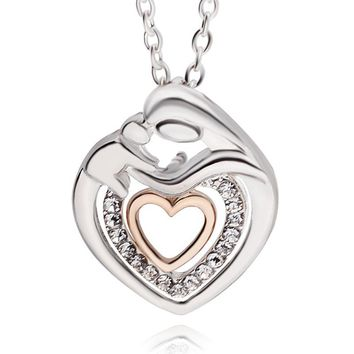 CUTE HEART SHAPED MOM & BABY NECKLACE. CRYSTAL RHINESTONE BEST FOR WOMEN MOTHER
