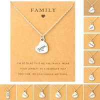 Family Mom Pendants Necklaces Grandma Aunt Sister Uncle Daughter Grandpa Dad Father Brother Son Charm Fashion Jewelry Love Gift